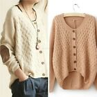 New Vintage Long Sleeve Asymmetric Patch Loose Cardigan Sweaters umper Knitwear