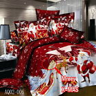 Santa Claus Queen/King Size Bed Quilt/Doona/Duvet Cover Set Linen 100% Linen Red