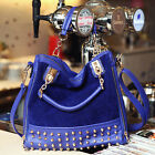 Fashion Women Rivet Stud Studded Bottom Duffel Shoulder Hobo Tote Shoppers Bag