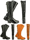WOMENS LADIES FLAT KNEE HIGH QUILTED CALF BOOTS GUSSET FAUX LEATHER WINTER SIZE