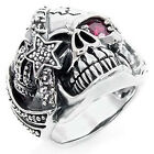 Mens Silver Skull Ghost Head Birthstone Ruby Red Crystal Man Ring All Size M22