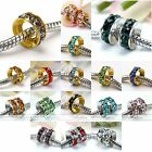 20pcs Various Crystal Gold Plated Wheel European Spacer Beads Charm For Bracelet