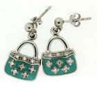 Mbody: Sterling Silver, Clear Crystal/CZ and Enamel 'Handbag' Dropper Earrings