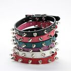 Pet Cat Dog PU Leather Rivet Spiked Studded Adjustable Collar Buckle Neck Strap