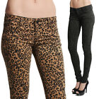 MOGAN Vintage LEOPARD Print DENIM SKINNY JEANS Sexy Low-Rise Stretch JEGGINGS