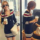 Korean Women Long Sleeve V Neck Knitted Fit Casual Stripe Pullover Shirt Dress S