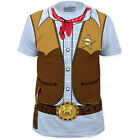 New Cowboy Sheriff Badge Gun Belt Vest Bandana Costume T-shirt top adult