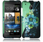 AT&T HTC ONE MINI Rubberized HARD Protector Case Phone Cover Blue Green Flowers