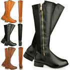 WOMENS LADIES FLAT KNEE HIGH RIDING CALF BOOTS GUSSET GOLD ZIP FAUX LEATHER SIZE