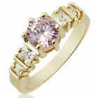 Women Jewelry Pink Sapphire Stone Yellow Gold Plated Cocktail Ring Size 6 7 8