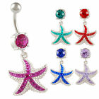 dangly belly bars navel pierced jewellery ring crystal starfish piercing 9HJR