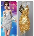 Women Ladies Sexy Backless Sequins Tassel Cocktail Clubwear Latin Dance Dress