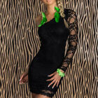 Sexy Women's Floral Lace One Shoulder Mini Dress Party Clubwear Evenning Dress