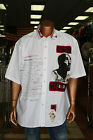 Men's Makaveli White Tupac Short Sleeve Button Down Shirt 100% Cotton