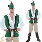 Mens Deluxe Robin Hood Medieval Fancy Dress Costume Adult Outfit & Hat