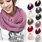 Ladies Fashion Knitted Snood Warm Winter Womens Wool Scarf Black Red Pink Beige