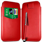CARD SLOT PU LEATHER PULL FLIP TAB CASE COVER & STYLUS PEN FOR NOKIA PHONES