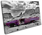 Decayed Car Purple Urban SINGLE CANVAS WALL ART Picture Print VA