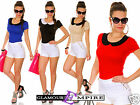 Ladies Cute Bodycon Stretch Top With Collar One Size UK 8/10 24h Dispatch 663