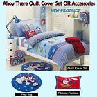 AHOY THERE Blue - Quilt Cover Set, Cushion,  Floor Rug  - SINGLE DOUBLE QUEEN