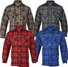 **FREE P&P** P1 Mens Padded Quilted Lumberjack Check Flannel Work Shirt Jacket