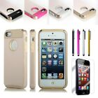 PC Gold Shockproof Dirt Dust Proof Hard Matte Cover Case For iPhone 5 5S+Film