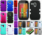 Motorola Moto G Rubber IMPACT TUFF HYBRID Hard Skin Case Cover + Screen Guard