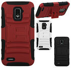 Boost Mobile Warp 4G ZTE N9510 HYBRID KICKSTAND Rubber Silicone Case Phone Cover