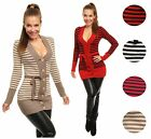 Womens Stretchy Striped Buttoned V Neck Knitted Cardigan Sweater with Belt 910