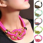 Handmade Double Chains Thick twine Gold Knot Bib Fancy Pendant Necklace - Choose