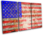 USA Flag America Maps Flags TREBLE CANVAS WALL ART Picture Print VA