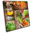 Organic cooking food Kitchen SINGLE CANVAS WALL ART Picture Print VA