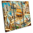 Italy Collage Vintage TREBLE CANVAS WALL ART Picture Print VA
