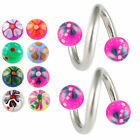 Spiral twist belly bar eyebrow barbell ear ring lip body jewellery ball 2pc 9KAN
