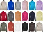 Ladies Roll Necks Tops Polo Necks Plain Winter Ski Quality Stretch Jersey Cotton