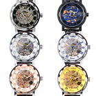 Mens Skeleton Mechanical Transparent Stainless Steel Hand-winding Watch Gift Box