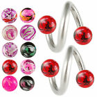 Twist lip bar spiral eyebrow ring barbell tragus ear piercing steel 2 pcs 9KAS