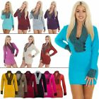 NEW Ladies Womens Knitwear V Neck Winter Knitted Jumper Dress size 8-14 S M L XL