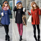 Womens Ladies Loose Round Neck Long Sleeve Knitted Pullover Jumper Sweater E