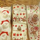 per metre  Christmas ribbon santa gingerbread man or owls glittery wired edge