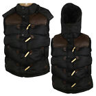 Mens Padded Gilet Bodywarmer Detachable Hood Jacket Vest Winter Coat Polyester