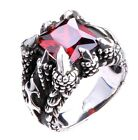 Men's Silver Plated Black Dragon Claw Red Ruby Like Biker Man Ring M9