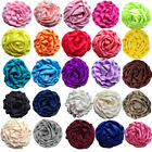 25color Girls rose Satin puff flowers rosette NO Clip Flat Back Hair accessory