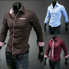 Men's Stylish Slim Fit Long Sleeve Casual Formal Dress Shirt 4 Size 3 Color