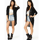Women Lace Loose long Cardigan Sheer Sleeve Floral Crochet Tee Top Blouse Hollow