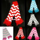 XMAS Baby Girl Chevron Stripes Waves Style Cotton Leg Warmer Legging with Ruffle