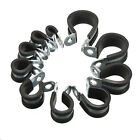 EPDM Rubber Lined P Clip 6-25mm Clamps Cable Wire Fuel Hose Petrol Pipe 10 Sizes