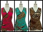 SEXY LEOPARD & LACE WRAP Tie PLUNGE TOP Pink/Teal/Brown~S/M/L/XL~NWT Free Ship!