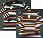 Royal Blue Men Black or Brown Multi Striped Cotton Pique Polo Shirt MSRP$48.00