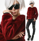 RTBU Punk Rock Teddy Sarpei Faux Fur Maroon Red Velvet Furry Sweatshirt Jumper